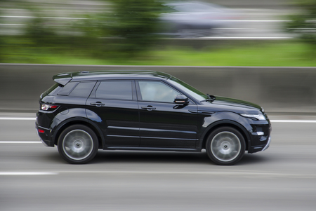Land Rover Range Evoque on the highway.