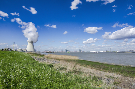 View of the nuclear power plant in the town of Doel, Belgium.
