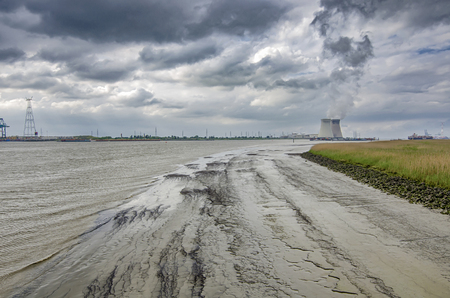 Schelde river with a view of the Antwerp harbor industries Archivio Fotografico