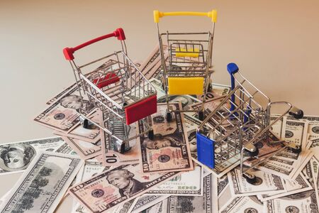 Concept shopping cart, Buy and sell at department stores, Online products Фото со стока