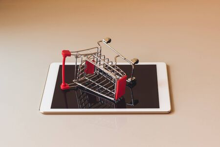 Concept shopping cart, Buy and sell at department stores, Online Фото со стока