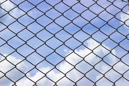 Cage netting and bluesky  with clipping path Standard-Bild