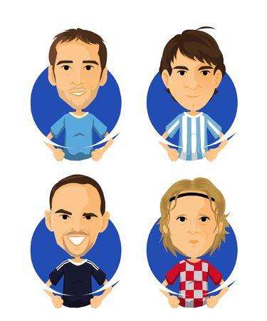 Soccer Player Avatar and Icon Cartoon Çizim