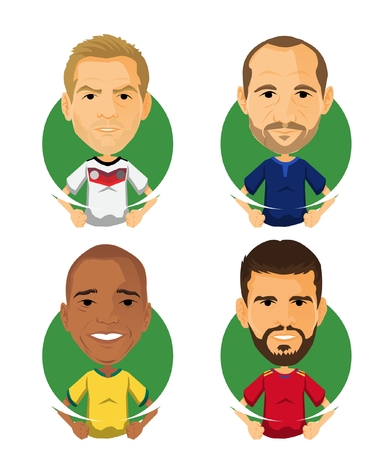Soccer Player Avatar and Icon Cartoon Mi Friends Illustration