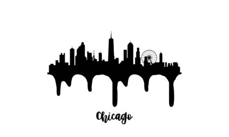 Chicago black skyline silhouette vector illustration on white background with dripping ink effect.