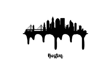 Boston black skyline silhouette vector illustration on white background with dripping ink effect.