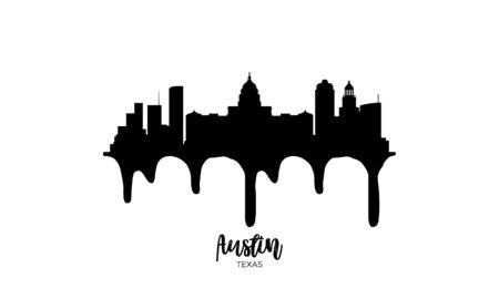 Austin Texas black skyline silhouette vector illustration on white background with dripping ink effect.