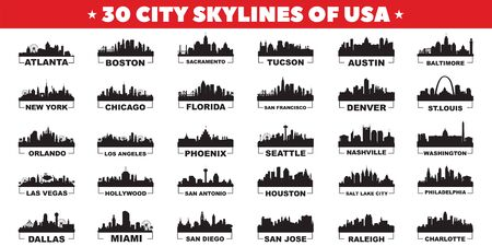 30 city skyline silhouettes of United States of America vector design Vecteurs