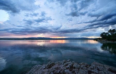 Sunset on Lake Stock Photo