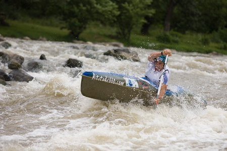 Kraljevo City, Serbia - July 25, 2010 - 8th European Junior Championships in kayak on wild water Stock Photo - 10581131