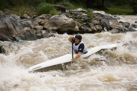 Kraljevo City, Serbia - July 25, 2010 - 8th European Junior Championships in kayak on wild water Stock Photo - 10592164