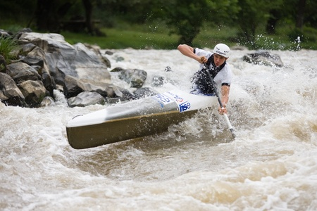 Kraljevo City, Serbia - July 25, 2010 - 8th European Junior Championships in kayak on wild water Stock Photo - 10592158