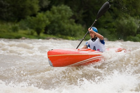 rafter: Kraljevo City, Serbia - July 25, 2010 - 8th European Junior Championships in kayak on wild water