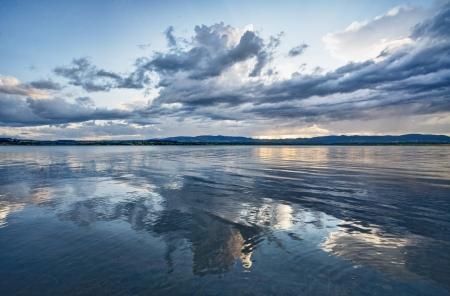 dramatic sky the lake  Stock Photo