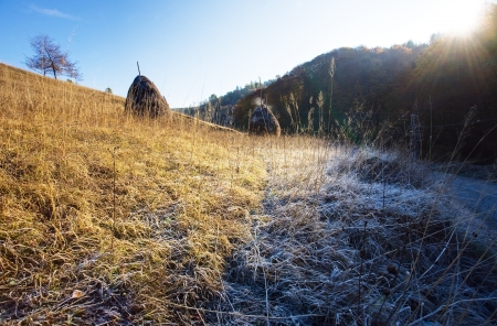 Moring autumn mountain frost photo