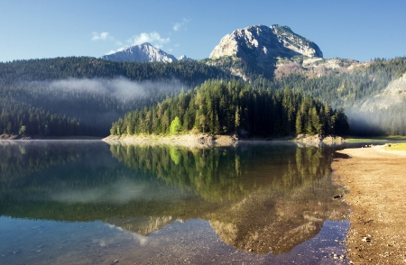 Reflection in water of mountain lakes
