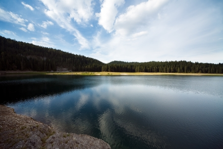 Lake the mountain forest photo