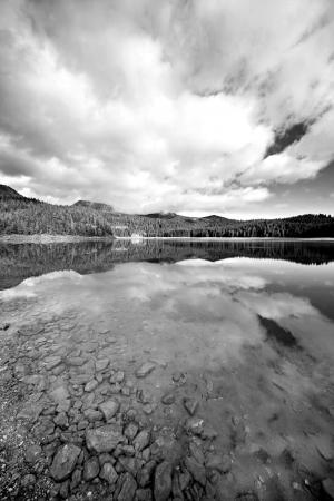 Beautiful lake the mountain black and white