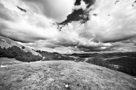 Beautiful mountain landscape black and white
