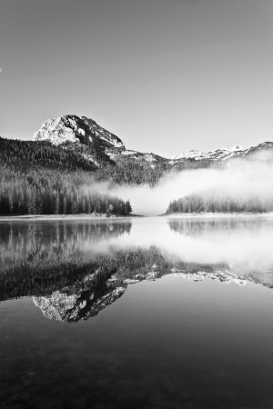 The lake, black and white