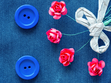 Sewing buttons and flowers photo