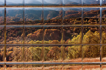 Abstract blurred defocused bokeh background of autumn leaves in forest through window panes