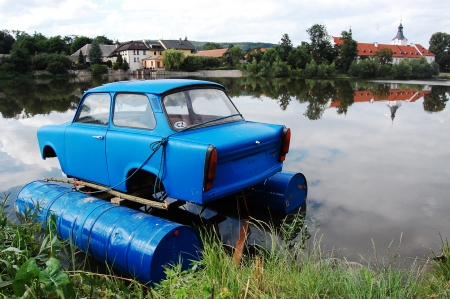 cz: Remade blue trabant on the  Stock Photo