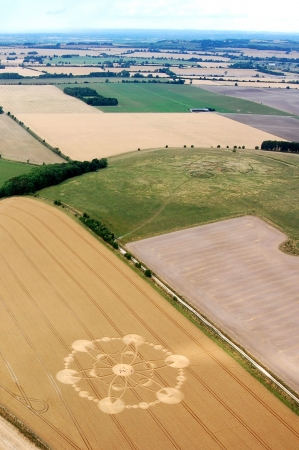 cropcircle: Crop circle taken from ultralight, Great Britain. Stock Photo