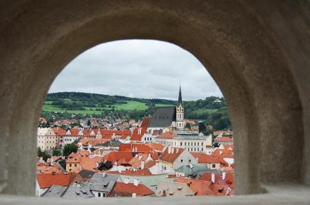 loophole: Cesky Krumlov castle and old town centre seen through loophole