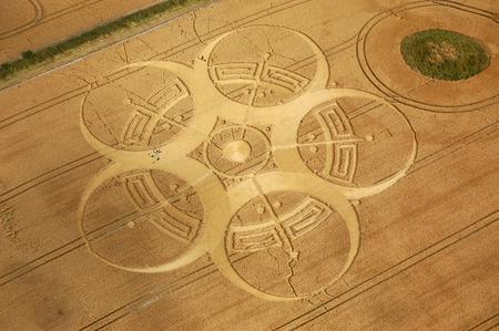 Crop circle taken from ultralight, Great Britain. Stock Photo