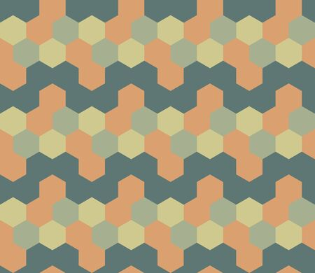 Vector abstract seamless pattern with hexagons of different colors. Textile background for package, cover, greeting cards.