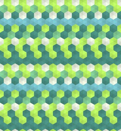 Abstract seamless background pattern with colorful hexagons. Mosaic texture for prints, textile, fabric, package, cover, greeting cards.