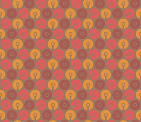 Seamless geometric wallpaper. Mosaic template pattern made of connected circles. For any design purposes.