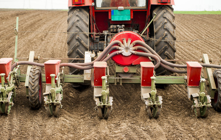 seed drill: Planting soybean on field
