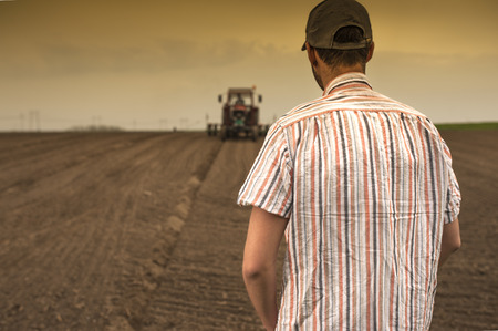 farm implements: Planting soybean on field