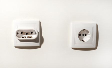 electric socket: White electric socket . European system. Stock Photo