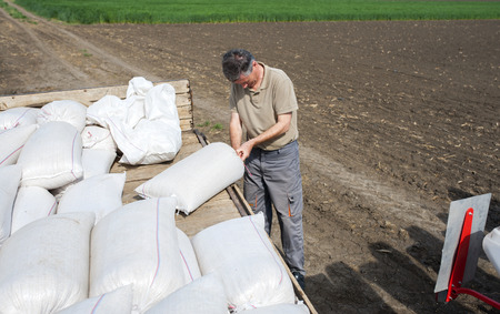 agricultural implements: Work on field during soy planting time