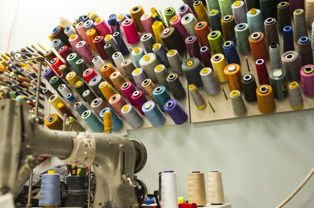 tailor shop: Reels of threads in tailor shop Stock Photo