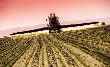 fungicide: Spraying soybean crops Stock Photo
