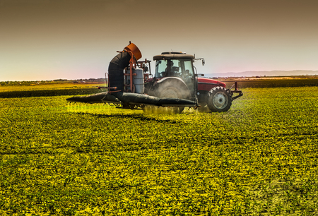 toxicity: Spraying soybean crops Stock Photo