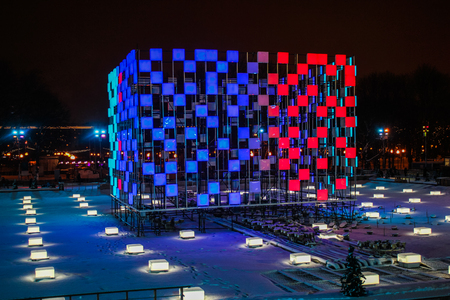 gorky: glowing cube in Gorky Park in the winter at the rink, Moscow, Russia, February