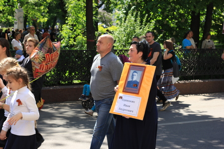 memorable: Voronezh, Russia, on May 9, 2016: residents in memorable procession An immortal regiment, on May 9, 2016
