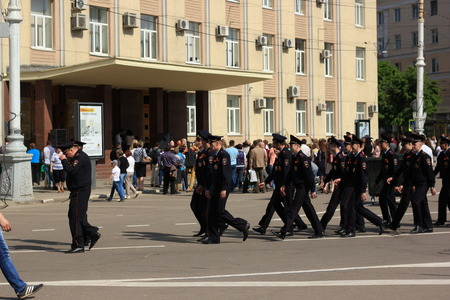 voronezh: Voronezh, Russia - May 9, 2016. Victory Day. The Russian police