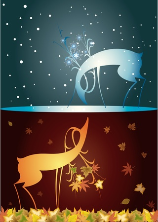 Reindeer, christmas, autumn winter, two deer, from autumn to winter, autumn, with winter meeting Stock Vector - 11836210