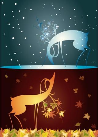 Reindeer, christmas, autumn winter, two deer, from autumn to winter, autumn, with winter meeting
