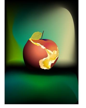 bitten: de fondo, manzana, oto�o, al aire libre, objeto, manzana roja, manzana mordida