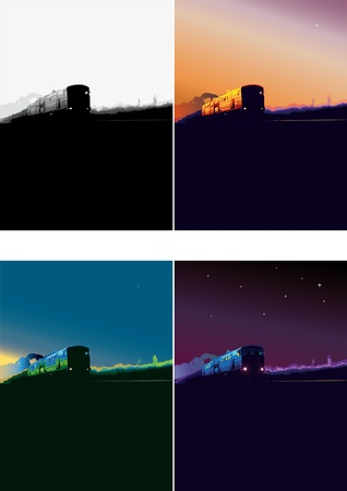 train rides on Rails, vector illustration, railway, landscape with the train