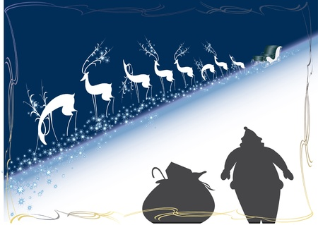 reindeer, sleigh, santa claus, christmas, new year Vector