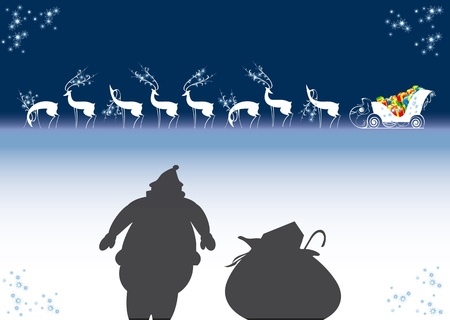 reindeer, sleigh, santa claus, christmas, new year Stock Vector - 11836208