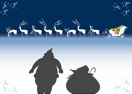northpole: rendieren, arreslee, santa claus, Kerstmis, Nieuwjaar Stock Illustratie